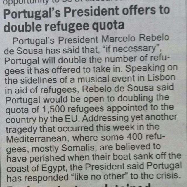 Portugal wants more quota refugees